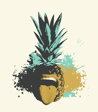 Illustration Of A Pineapple Fruit With Its Mouth Open And Its Tongue Sticking Out. An Emotional Character. Vector Image Of A Summer Sweet Tropical Fruit On A Background With Abstract Blots And Spots.