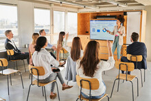 Female Entrepreneur Looking At Employee Engagement In Education Training Class