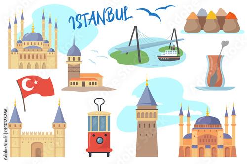 Set of traditional Istanbul symbols Fototapet