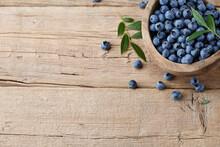 Fresh Blueberries In Wooden Bowl