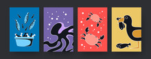 Colorful Set Of Contemporary Art Posters With Sea Animals Theme. Vector Illustration. .Collection Of Colored Fish, Octopus, Crabs, Gull In Bright Background. Nature, Sea, Animal Concept For Design