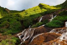 Magical Golden Waterfall  Mountain.