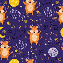 A Tiger In Space. Seamless Pattern With Planets, Tigers, Constellations, The Moon, And Stars For Decorating Children's Fabrics, Clothing, And Rooms. 2022 The Year Of The Tiger In The Chinese Calendar
