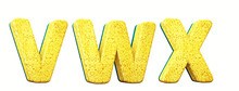 Sponge Alphabet. Letters In 3d Render. Cleaning Festival. Letters V, W, X