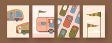 Collection Of Contemporary Art Posters With Camping Caravans. Campervan Doors, Flags Cartoon Vector Illustrations. Traveling, Vacation Concept For Designs, Social Media, Postcards, Invitation Cards