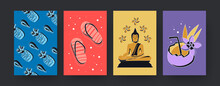 Set Of Contemporary Art Posters With Thai Symbols. Vector Illustration. Collection Of Colored Thai Fruits, Flowers, Slippers, Cocktail, Yogi In Bright Background. Thailand, Tradition, Culture Concept