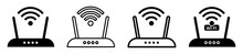 Set Of Wireless Router Icons. Modem With Wi-fi Signal. Wi-fi Signal Symbol. Internet Connection. Wi-fi Wireless Technology Illustration On Isolated Background. Vector Illustration.