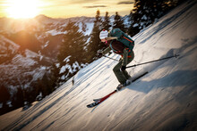 Mid Adult Woman Skiing On Snowy Mountain During Winter