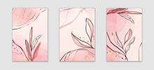 Abstract Dusty Pink And Blush Liquid Watercolor Background With Branch And Gold Foil Elements. Pastel Alcohol Ink Drawing Effect With Golden Stains. Vector Illustration Of Botanical Elegant Wallpaper