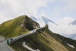 Austria, Carinthia, Grossglockner High Alpine Road leading by mountain peak