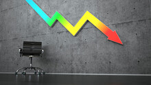 Three Dimensional Render Of Office Chair Standing Under Colorful Graph Arrow Representing Economic Recession