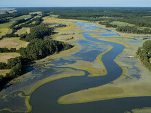 Aerial Photograph Of Marshes Along The Atlantic Coastline Of Virginia Near The Community Of Red Banks, USA