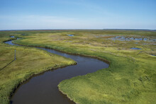 Aerial View Over Marshes Near Elliot Island, Maryland, USA