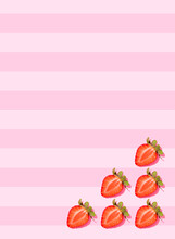 Fresh Halved Strawberries Lying Against Pink Striped Background