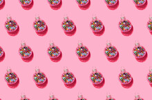 Bright Balls For Christmas Tree Pattern On Pink Background