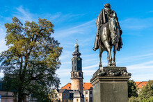 Germany, Thuringia, Weimar, Equestrian Statue Of Grand Duke Carl August On Democracy Square