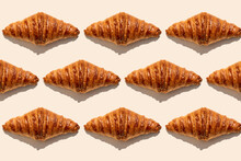 Crunchy Butter Croissants Placed On Beige Background