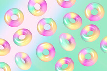 Three Dimensional Pattern Of Colorful Doughnuts