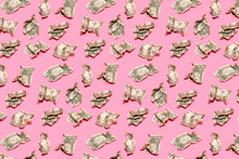 Pattern Of Crumpled One Dollar Bills Lying Against Pink Background