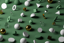 Gold, Glass, Marble Geometric Shapes Against Pastel Green Background