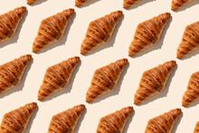 Fresh Baked Butter Croissants On Beige Background