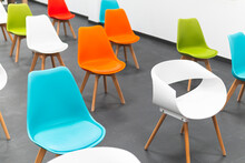 Empty Chairs Arranged At Workshop