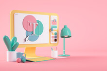Designs On Cartoon Computer Screen Over Pink Background