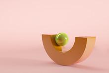 Three Dimensional Render Of Green Sphere Balancing On Brown Semi-circle