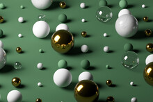 Gold, Glass, Marble Spheres Against Pastel Green Background
