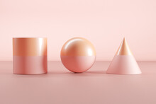 Three Dimensional Render Of Pink And Orange Sphere, Cone And Cylinder