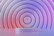 Three Dimensional Render Of Empty Pedestal Withconcentric Background