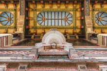 Netherlands, Groningen, Ornate Wall And Ceiling Of Historical Railroad Station