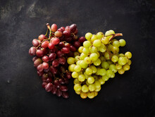 Studio Shot Of Red And Green Grapes