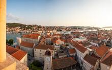 Croatia, Split-Dalmatia County, Trogir, Saint Sebastians Church And Surrounding Old Town Houses At Sunset