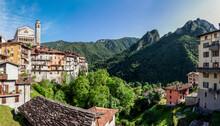 San Giorgio Church By Mountains In Bagolino, Province Of Brescia, Lombardy, Italy