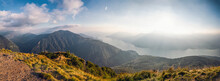 Italy, Lombardy, Panoramic View From Summit Of Monte Legnoncino On Lake Como