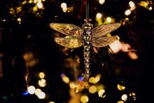 Hanging Golden Dragonfly Decoration