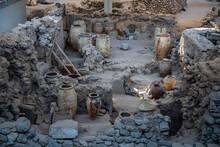 Greece, Santorini, Akrotiri, Ruins Of Prehistoric Settlement