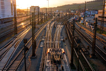 Germany, Bavaria, Wurzburg, Empty Railroad Tracks At Sunset