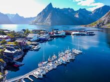 Norway, Nordland, Reine, Aerial View Of Fishing Village On Moskenesoya Island