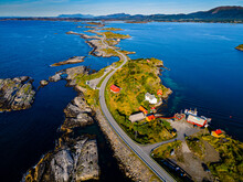 Norway, More Og Romsdal, Aerial View Of Atlantic Ocean Road Stretching Across Archipelago In Norwegian Sea