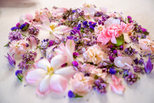 Colourful Flowers And Buds On Table