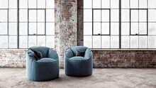 Three Dimensional Render Of Two Chairs Standing In Front Of Windows Inside Industrial Loft