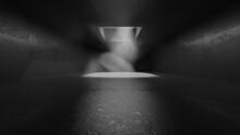 Three Dimensional Render Of Dark And Dusty Concrete Interior