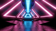 Three Dimensional Render Of Futuristic Corridor Illuminated By Pink And Blue Neon Lighting