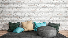 Three Dimensional Render Of Relaxation Area Consisting Of Rug And Cushions Placed In Front Of Brick Wall