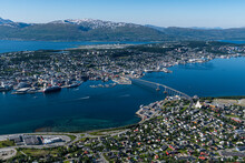 Norway, Troms Og Finnmark, Tromso, Coastal City Seen From Fjellstua Viewpoint