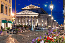 Perusa Street With The Bavarian State Opera House, Bayerische Staatsoper At Night, Munich, Germany
