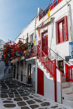 Greece, South Aegean, Horta, Alley Stretching Between White-washed Houses