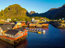 Norway, Nordland, A, Aerial View Of Fishing Village On Moskenesoya Island